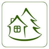 Hus och träd 1 stock illustrationer