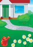 Hus och trädgård Royaltyfri Bild