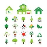 Hus- och trädsymboluppsättning Royaltyfri Fotografi