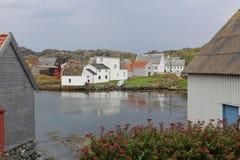 Hus på ön Utsira, Norge Arkivfoton