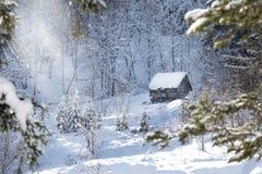Hus på berget, bland träden i vinter för silhouettesnow för falls utbildar järnväg spår oklart royaltyfri bild