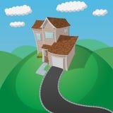 Hus på den gröna kullen Arkivfoton
