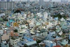 Hus på den Ho Chi Minh staden, sikt från himmelbyggnad i den Ho Chi Minh staden Arkivbilder