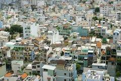Hus på den Ho Chi Minh staden, sikt från himmelbyggnad i den Ho Chi Minh staden Arkivbild