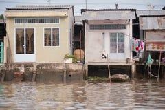 Hus på den Meekong deltan Vietnam Royaltyfri Bild
