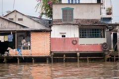 Hus på den Meekong deltan Vietnam Royaltyfri Foto
