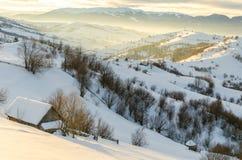 Hus på en backe som täckas med snö- och gräsplanträd på siden Royaltyfria Bilder
