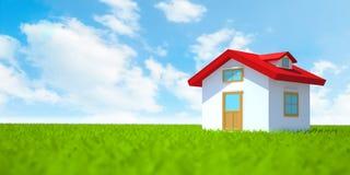 Hus på grönt fält med himmel Arkivfoto