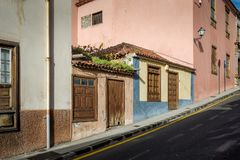 Hus på 45 grad, La Orotava Arkivbild