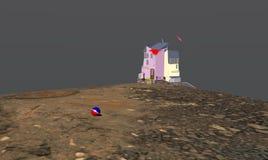 Hus på havskusten Arkivbild