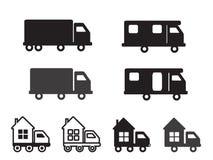 Hus på hjul lastbil vektor illustrationer