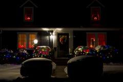 Hus på jul fotografering för bildbyråer