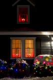 Hus på jul arkivbild