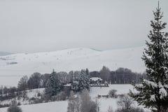 Hus på kullen som täckas med snö och omges av skogen royaltyfri bild