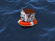 Hus på livboj i vatten Royaltyfri Bild