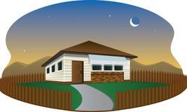 Hus på skymningillustrationen stock illustrationer