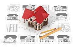 Hus på utkasten i olika projektioner och ritningar Arkivbild