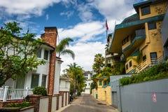 Hus på väggränd i Corona del Mar Royaltyfria Foton