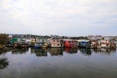 Hus på vattnet - Victoria - F. KR. - Kanada Arkivbilder