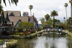 Hus på Venedig kanaler, Los Angeles - Kalifornien Fotografering för Bildbyråer