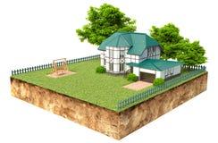 Hus på stycke av jord med trädgården och träd Royaltyfri Fotografi