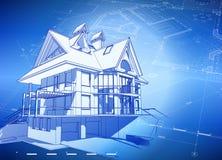 Hus & plan för ritning 3d Arkivbilder