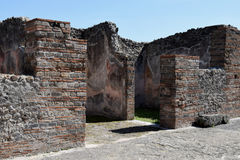 Hus Pompeii arkeologisk plats, nr Mount Vesuvius, Italien Arkivfoto