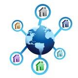 Hus runtom i världen stock illustrationer