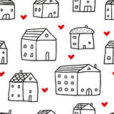 Hus sömlös modell för vektor stock illustrationer