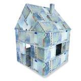 Hus som göras av 20 euroanmärkningar Royaltyfri Foto
