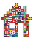 Hus som göras av flaggor royaltyfri illustrationer