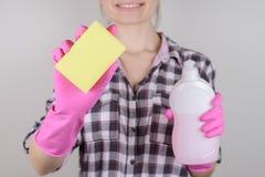 Hus som håller housecleaning maträttbegrepp Slut upp fotoet av cheen royaltyfria bilder