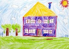 Hus Teckning för barnblyertspennahand royaltyfri illustrationer