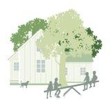 Hus, trädgård och barn royaltyfri illustrationer