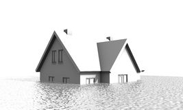Hus under vatten Arkivbild