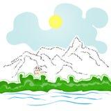 Hus vid floden och bergen royaltyfri illustrationer