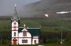 Husavik church at Husavik harbor, Iceland Stock Image