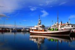 Husavik Harbor, July 2017, Iceland royalty free stock images