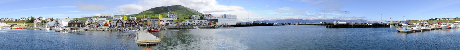 Husavik Harbor Panorama stock photography