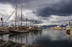 HUSAVIK, ICELAND - august 25, 2014: Husavik is a town on the nor. Th coast of Iceland on the shores of Skjalfandi bay. The town is a center of whale watching in Stock Image