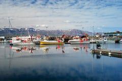Husavik, Iceland - July, 2008: Harbor Stock Images