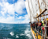 HUSAVIK, ICELAND - JUNE 19, 2013: Whale Watching on a traditiona Stock Image