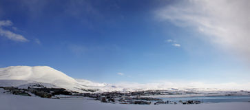 Husavik, IJsland, panorama in de winter Royalty-vrije Stock Afbeelding