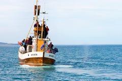 Husavik, Islandia - julio de 2008: Observación de la ballena Fotografía de archivo libre de regalías