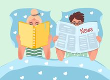 Free Husband And Wife Lie In Bed And Read. Reading Books And Newspapers. Reading People Vector Graphics Stock Photos - 144471753