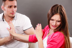 Husband apologizing wife. Angry upset woman. Stock Images