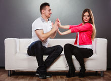 Husband apologizing wife. Unhappy upset woman. Royalty Free Stock Image
