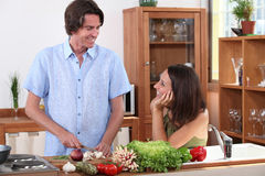 Husband cooking Royalty Free Stock Photography