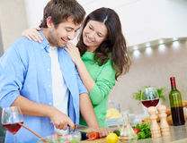 Husband cooking Royalty Free Stock Images