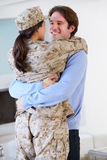 Husband Greeting Military Wife Home On Leave Stock Images